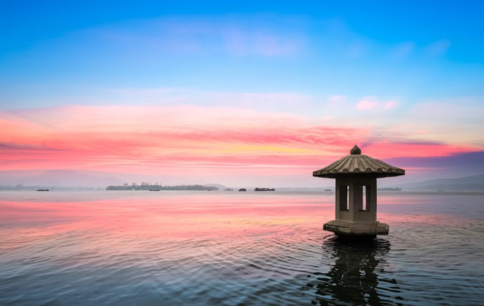 hangzhou scenery of the west lake in sunset ,the natural beauty of lakes and mountains